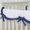 White Crib Rail Cover with Navy Ruffle Trim
