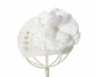 White Crochet Hat with White Rose