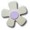 White Daisy with Purple Center Drawer Pull