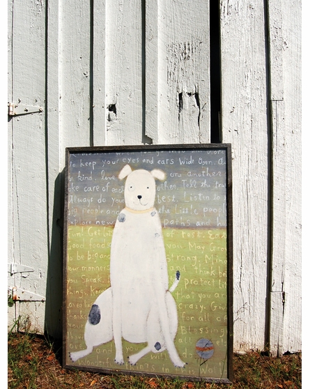 White Dog Vintage Framed Art Print