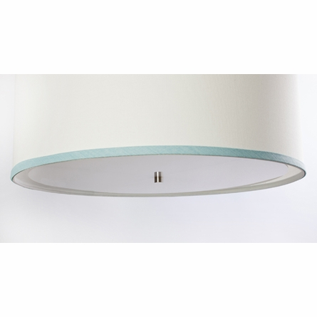 White Double Cylinder Pendant Light with Aqua Trim