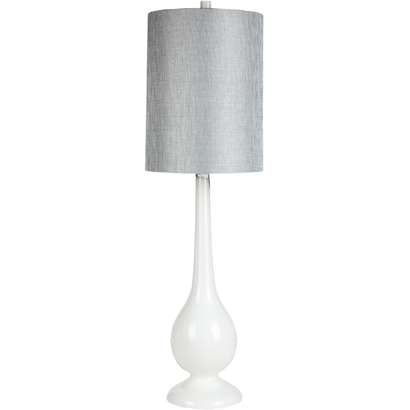 White Glass Table Lamp With Metallic Gray Shade By Surya