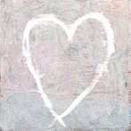 White Heart Vintage Art Print on Wood