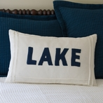 White Lake Linen Throw Pillow