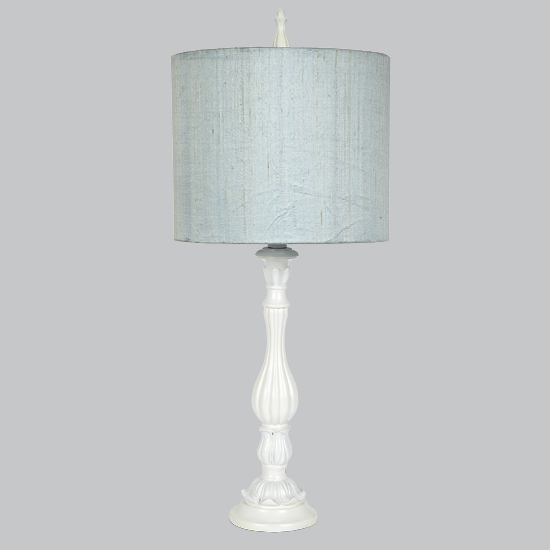 Large Blue Lamp Shade: White Large Lotus Base Lamp With Blue Drum Shade By
