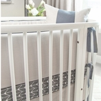 White Linen Crib Bumper with Charcoal Piping and Ties
