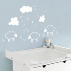 White Little Sheeps Wall Decal