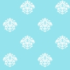 White on Aqua Damask Dot Wallpaper