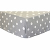 White on Gray Polka Dot Twill Crib Sheet