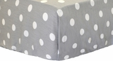 White on Gray Polka Dot Twill Crib Sheet $(+42.00)