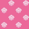 White on Hot Pink Damask Dot Wallpaper
