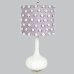 White Opaque Squash Base Lamp With Lavender Drum Shade With White Pom Poms