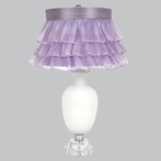 White Opaque Traditional Base Lamp With Lavender Ruffled Sheer Skirt Shade