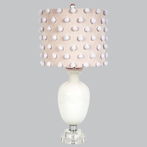 White Opaque Traditional Base Lamp With Pink Drum Shade With White Pom Poms