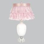 White Opaque Traditional Base Lamp With Pink Ruffled Sheer Skirt Shade