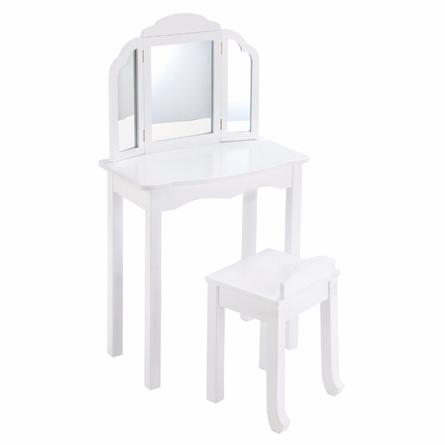 White Personalized Vanity and Stool