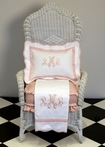 White Pique Blanket with Blush Pink Trim