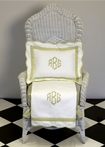 White Pique Blanket with New Green Trim