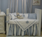 White Pique Blanket with Ocean Blue Trim