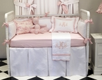 White Pique Blanket with Soft Pink Trim