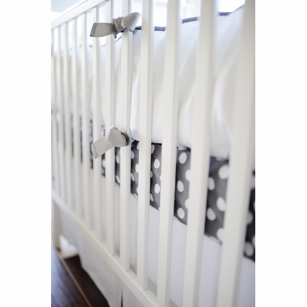 White Pique Crib Bedding in Gray
