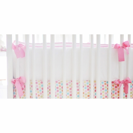 White Pique Crib Bedding in Hot Pink