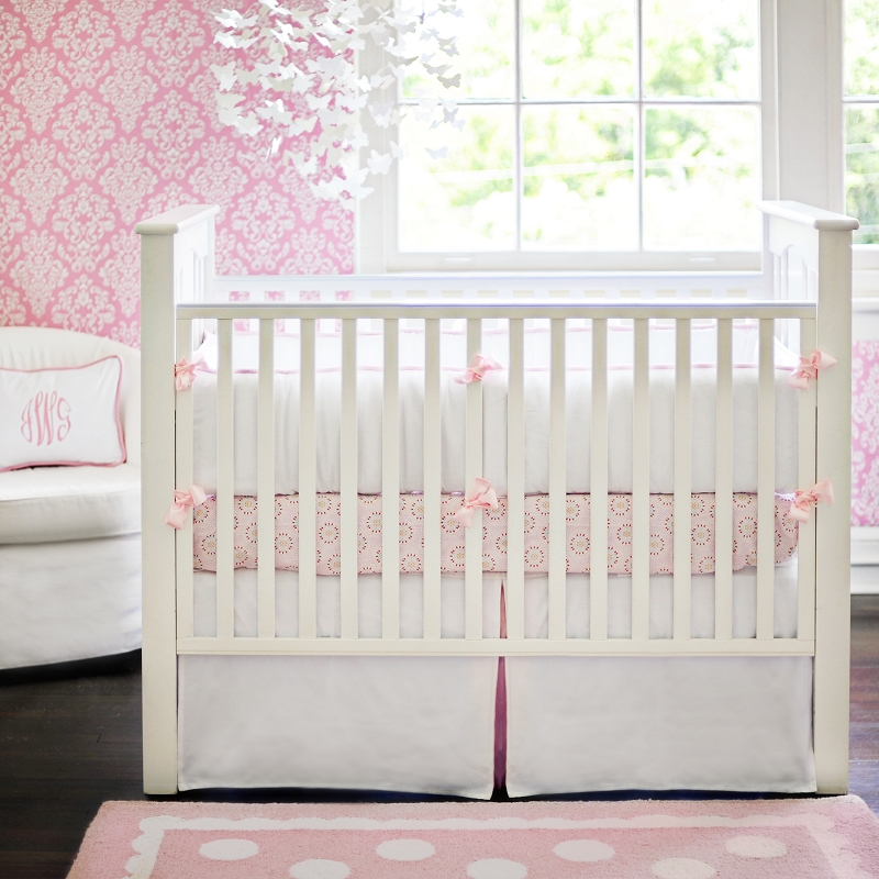 white pique crib bedding in pink by new arrivals inc