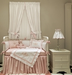 White Pique Drapery Panels and Valance with Soft Pink Trim