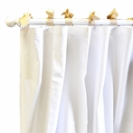 White Pique Khaki Curtain Panels - Set of 2