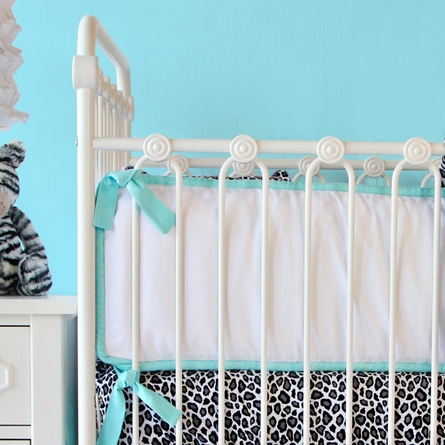 White Pique with Aqua Piping Crib Bumper