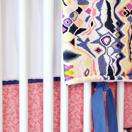 White Pique with Blue Piping Crib Bumper