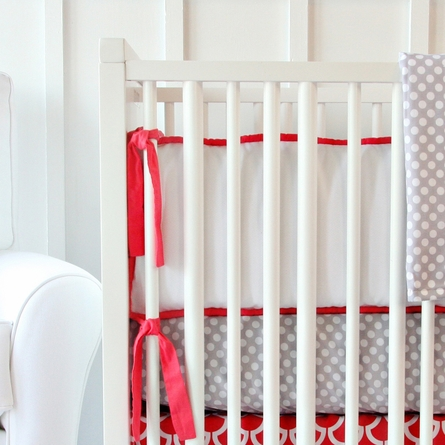 White Pique with Bright Coral Piping Crib Bumper
