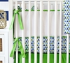 On Sale White Pique with Green Piping Crib Bumper