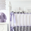 On Sale White Pique with Purple Piping Crib Bumper