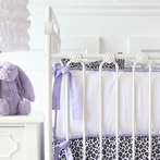 White Pique with Purple Piping Crib Bumper