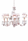 White Plain Chandelier Shades with Pink Sash on the Pink 5-Arm Crystal Flower Chandelier