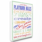 White Playroom Rules New School Canvas Wall Art