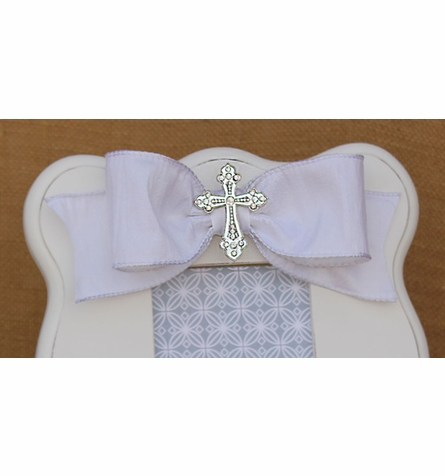 White Scalloped Cross Picture Frame