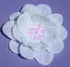 White Sequin Flower Blooming Fabric Flower