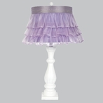 White Shabby Vintage Chic Lamp Base With Lavender Ruffled Sheer Skirt Shade