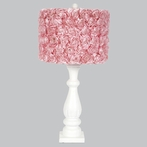 White Shabby Vintage Chic Lamp Base With Pink Rose Garden Drum Shade