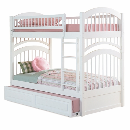 White Traditional Curved Slatted Bunk Bed