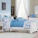 White Walnut Street Riley Sleigh Bed