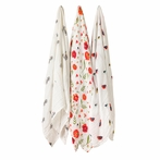 Wildflower Cotton Muslin Swaddle Blanket - Set of 3