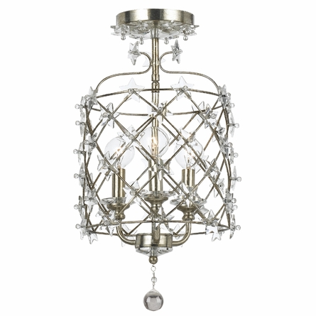 Willow Antique Silver Wrought Iron Lantern with Star Crystals