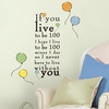 Winnie the Pooh Live to be 100 Wall Decals