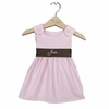 Winter Princess Corduroy Dress in Light Pink with Brown Sash