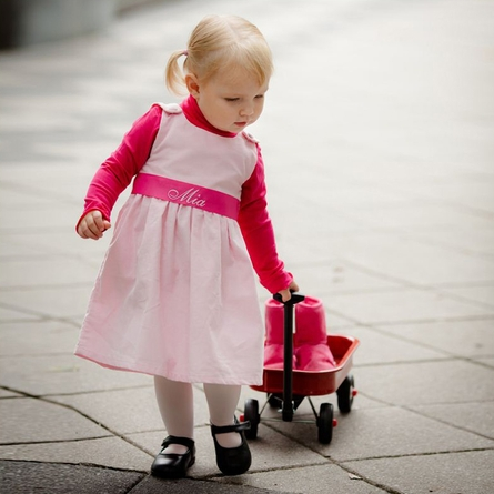 Winter Princess Corduroy Dress in Light Pink with Hot Pink Sash