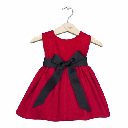 Winter Princess Corduroy Dress in Red with Black Sash