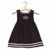 Winter Princess Corduroy Rick Rack Dress in Brown with Light Pink Trim